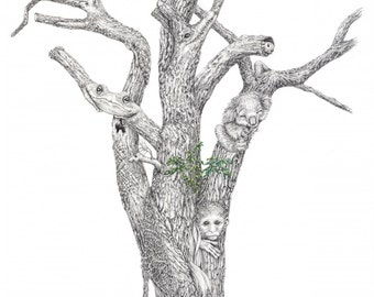 "Limited Edition Print ""Menagerie"", Graphite drawing of a tree morphed with animals"