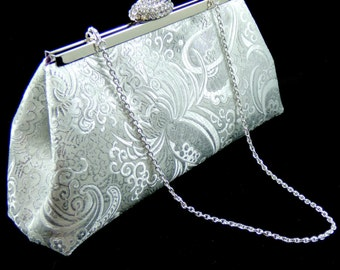 Silver Paisley and Eggplant Wedding Clutch, Personalized Bridal Clutch, Custom Bridesmaid Gift Clutch, Mother of the Bride Gift