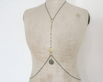 Bohemian chic body chain, harness - Gaby
