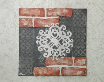 Picture, mural, antique brick look, shabby chic, vintage look