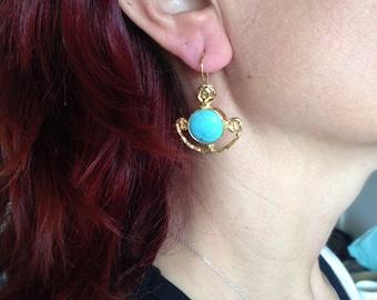 Gemstone Earring, Turquoise Earring, Gold Filled Earring
