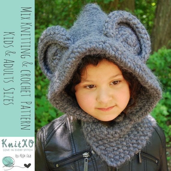 Knitting Pattern Mouse Hooded Cowl Crochet Pattern Mouse Hood