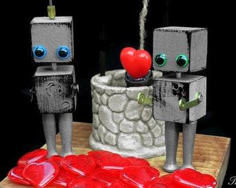 Robot Art Sculpture, Found Object Art, Wedding Cake Topper, Steampunk, Science Fiction Gift