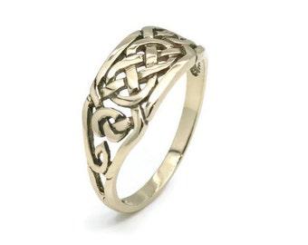 Celtic Knot Band, Celtic Knot Ring, Gold Celtic Knot Ring, Gold Celtic Ring, Gold Celtic Knot Band, Celtic Ring Women, Gold Celtic Band