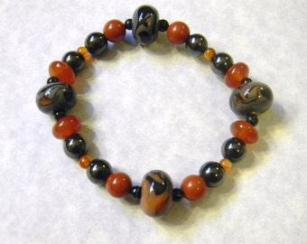 October Colored Art Glass Lampwork and Gemstone Stretch Bracelet