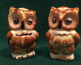 Vintage Shawnee Brown Winking Owl Salt & Pepper Shakers
