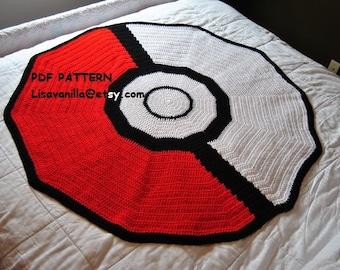 Poke ball Blanket  Crochet pattern/ pokemon/ Mario\ gamer