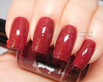 Merry & Bright - custom deep red gold glitter flakies nail polish