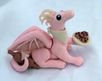 Cute Light Pink & Opal Baking Dragon OOAK by Danielle's Dragons