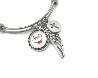 Memorial Bracelet, Remembrance Bracelet with Cardinal, Personalized with Angel Wing and Cross, Abuela, Mama, Papa, Abuelita, Abuelo
