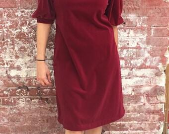 Burgundy Crushed Velvet 1970s Dress
