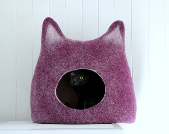 Cat lovers gift, Cat bed, felt cat cave, wool cat house, cat house, levander handmade felted wool cat bed, modern cat furniture, cat nap