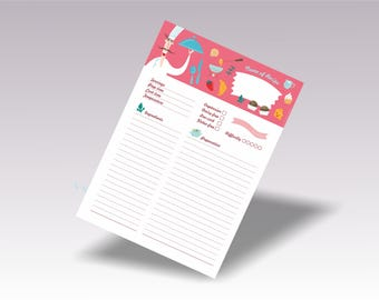 full page recipe card template