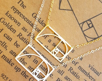 Fibonacci Necklace in 925 Sterling Silver-Golden Ratio Pendant-Sacred Geometry-Math Gift-Graduation Gift-Math Teacher Gift-Science Gift