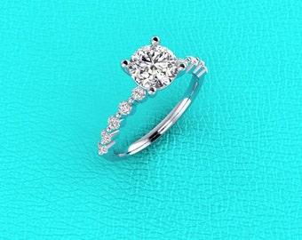 14K white gold singe prong engagement ring for 1-1.5 carat Round Diamond