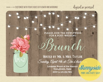 Brunch wedding invitation, newlyweds morning after brunch, bridal shower brunch, rustic twinkle lights barnwood invite, printable or printed