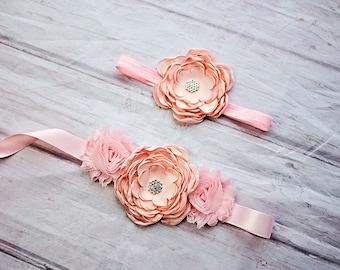 Rustic Flower Girl Sash, Headband, Bridesmaid Sash, Bridesmaid Belt, Pale Pink Sash, Bridal Belt / Sash, Bridesmaid Sashes, Maternity Sash