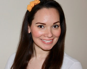 Handmade Crochet Headband or Choker with Three Yellow Flowers