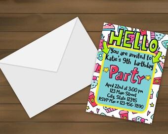 Unique invitations etsy hello birthday invitations party invitations kids birthday party custom invitations unique altavistaventures Images