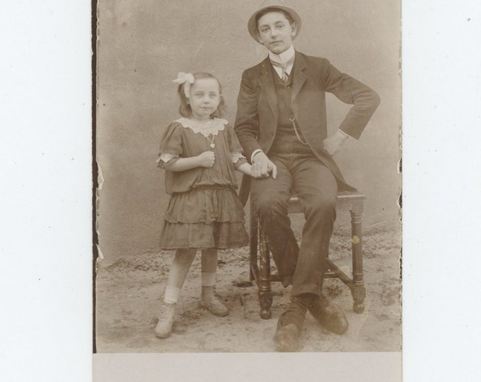 Vintage Photo RPPC: Big Brother & Little Sister [86689]
