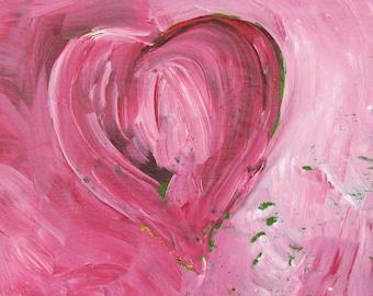 Massachusetts Artist Miniature Acrylic Painting Red Heart Art from the Heart Wood Block Kathleen Daughan Western Avenue Anniversary Gift