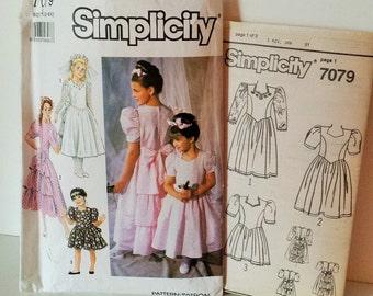 Vintage Simplicity sewing pattern - Bridesmaid Dress, 2 - 6 years (7079)