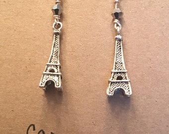 Eiffel Tower earrings - silver crystals with Eiffel Tower charms