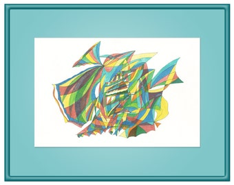 Little Fishes Giclee Print, Abstract Painting, Wall Art, Bright Colors, A4 A3 A2