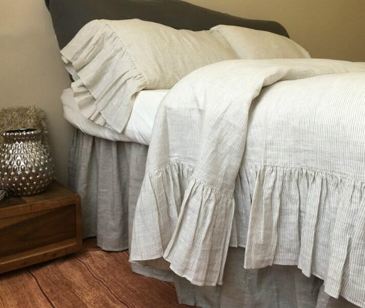 Shabby Chic Linen Ruffled Duvet Cover With Mermaid Long Ruffle