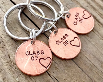 Set or 3 Class of 2017 Hand Stamped Graduation Gift, Personalized Custom Lucky Penny Keychain for Graduate, High School, College, University
