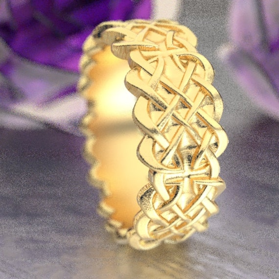 Gold Celtic Wedding Ring With Dara Knot Design & in 10K 14K 18K or Palladium, Made in Your Size Cr-1042