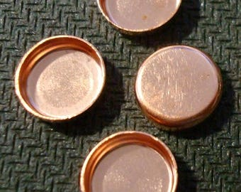 Bezel cups copper 8mm round machine made smooth edge 4 bezel cups BC016