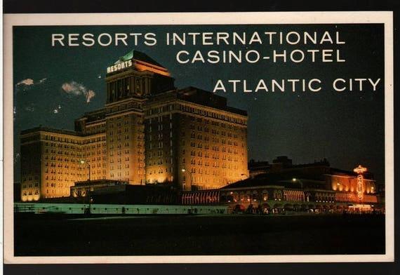 Resorts International Casino + Hotel + Atlantic City, New Jersey + Vintage Souvenir Postcard