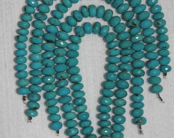Turquoise, Faceted Turquoise, Faceted Rondelles, Turquoise Rondelle, Grade A, Blue Green Turquoise, ONE Rondelle, 8 mm, AdrianasBeads