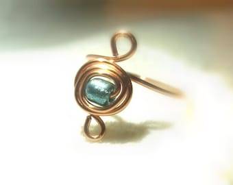 Blue Copper Toe Ring//Adjustable//Throat Chakra//Self Expression//Calm