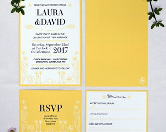 Yellow Spring Themed Wedding Invitation with matching RSVP - Sample