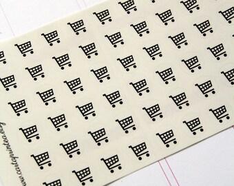 54 schwarz einkaufen Aufkleber, transparent klar Einkaufen Einkaufswagen-Aufkleber, Aufkleber, EG Filofax kikki.k Sticker