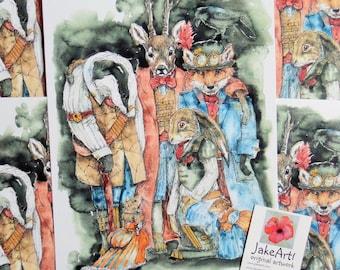 Steampunk art, Woodland animals, art print, steampunk animals, steampunk gift, gift for him, gift idea, fantasy print, steampunk print