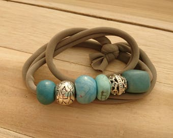 Bracelet 4 in 1 creapam Lycra taupe and teal polymer clay