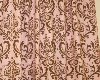 """RTS Two 25W"""" wide x 84L  curtain panels drapes traditions damask pink and brown"""