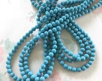 6mm Vintage Sky Blue Glass Beads, Rustic Glass Beads, 100PC