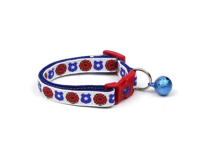 Police & Firefighter Collar - Fire and Police Badges on White - Kitten or Large Size - Breakaway Cat Collar