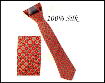 100% Silk Necktie, Red & Gray Paisley Tie, Red Necktie, Gray Tie, 1960s Mad Men Style, Mens Clothing, Gift For Him