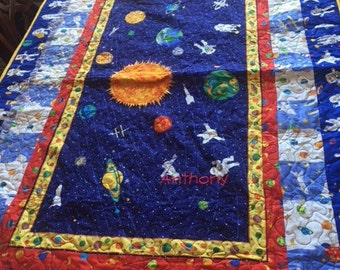Outer space quilt,boys space ship quilt,Primary color quilt,Red, white, blue quilt,handmade quilt,baby boy quilt,toddler boy quilt,twin size
