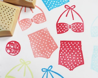 retro bikini rubber stamps | polka dot swimsuits | summer crafts | diy birthday card making | hand carved by talktothesun | set of 2