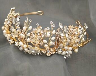 Freshwater Pearl Wedding Crown,Wedding Crown Headpiece,Crystal Bridal Tiara,Rhinestone Wedding Tiara, Bridal Hair Accessory,Gold HMH05029