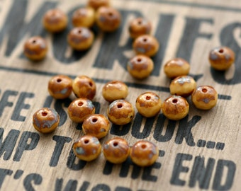 Caramel Glaze - Czech Glass Beads, Opaque Beige, Picasso, Firepolish Rondelles 7x5mm - Pc 15