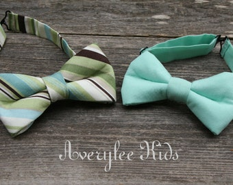 Boys Mint Green Bow Tie, Solid Mint Green Bow Tie, Striped Green and Brown Bow tie, Toddler Bow Tie, Teen Bow Tie, Wedding Ring Bearer