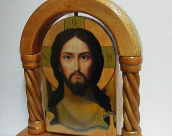 Gift for Easter -  Savior Not Made by Hands, icons hand-painted hot colors directly on the solid wood