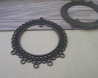 6pcs Antique bronze circular pendant charm connector 60mm